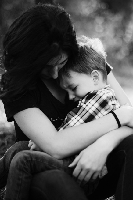 comforting-child-bw